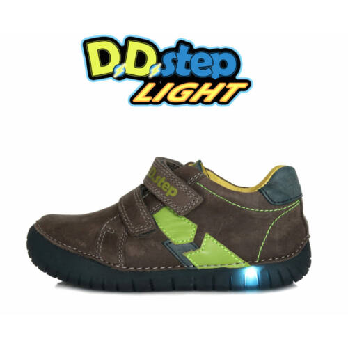 Tépőzáras, valódi bőr D.D.step gyerekcipő, világító leddel