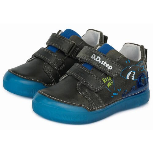 Vízlepergetős valódi bőr D.D.step gyerekcipő, fluoreszkáló talppal